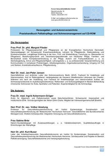 Herausgeber- und Autorenverzeichnis - Forum Gesundheitsmedien