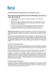 Roca alcanza una facturación neta de 1.669 millones de euros, la ...