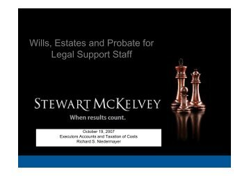Executors Accounts and Taxation of Costs - Stewart McKelvey