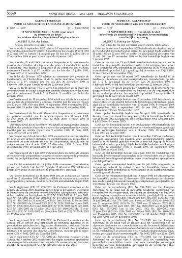 moniteur belge — 23.11.2005 — belgisch staatsblad - FAVV