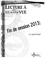Volume 1, n° 8a (avril 2013) - Faculté de musique - Université Laval