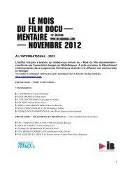 Programme 2012 - Le Mois du Film Documentaire