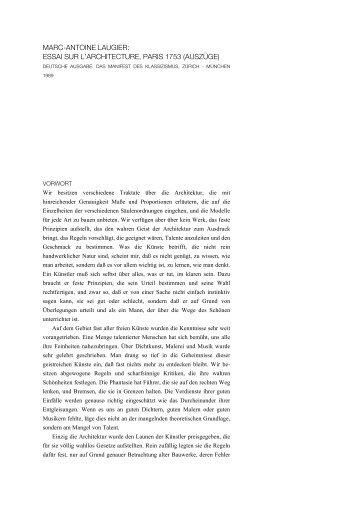 essai sur l'architecture, paris 1753 (auszüge) - Architekturtheorie