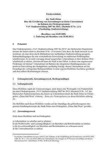 Förderrichtlinie der Stadt Zittau über die Gewährung von ...
