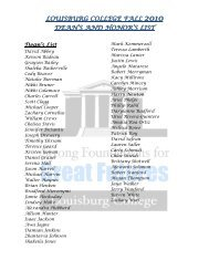 LOUISBURG COLLEGE FALL DEAN'S AND HONOR'S LIST