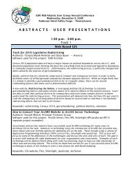 abstracts — user presentations - Esri Mid-Atlantic User Group