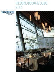 WEDDING BOOKING GUIDE 201 - Vancouver Convention Centre