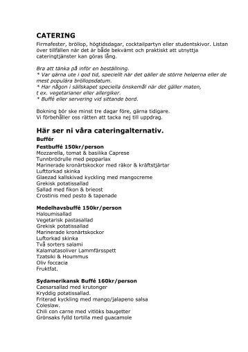 CATERING Här ser ni våra cateringalternativ. - Kvartersmenyn.com