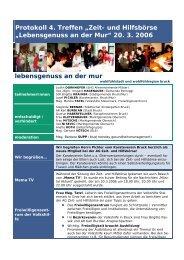 """Protokoll 4. Treffen """"Zeit- und Hilfsbörse """"Lebensgenuss an der Mur ..."""