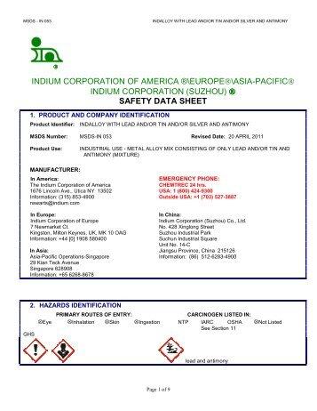 Msds Tin Antimony Lead Alloy Rotometals Inc