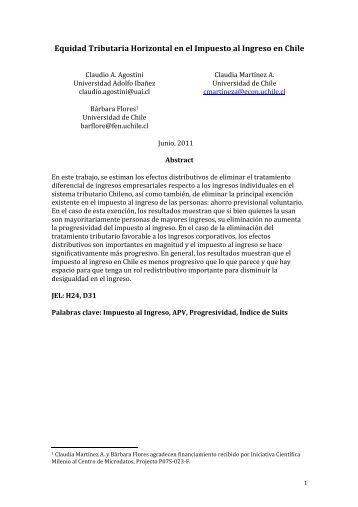 Equidad Tributaria Horizontal en el Impuesto al Ingreso en Chile