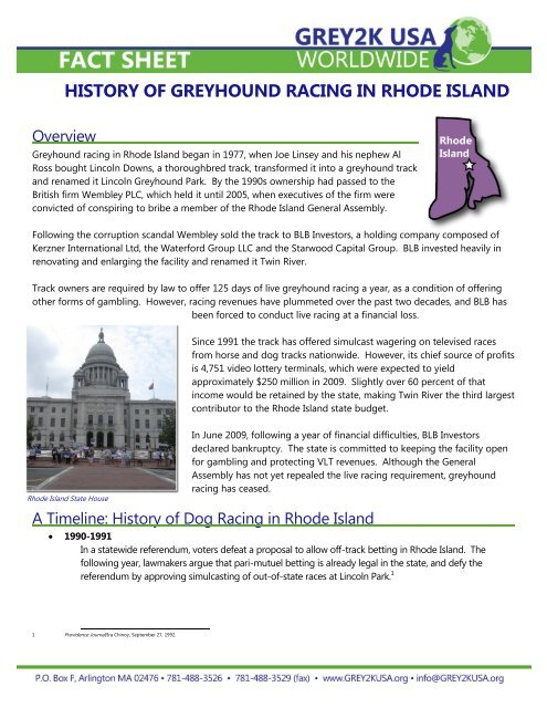 The History of Greyhound Racing in Rhode Island     - Grey2K USA