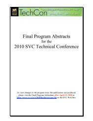 Final Program Abstracts 2010 SVC Technical Conference
