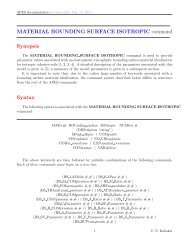 MATERIAL BOUNDING SURFACE ISOTROPIC command Synopsis ...