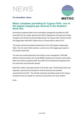 For immediate release - Metoc