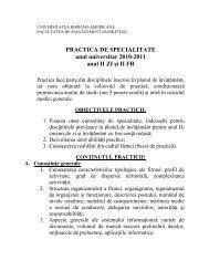 PRACTICA DE SPECIALITATE anul universitar 2010-2011 anul II ZI ...