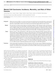 Merkel cell carcinoma: incidence, Mortality, and risk of Other cancers