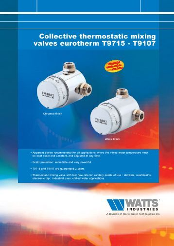 Collective thermostatic mixing valves eurotherm ... - Watts Industries