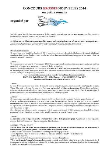 Télécharger le règlement en pdf - Les éditions du bord du Lot