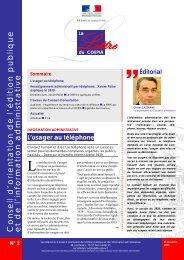 Lettre du Coepia n° 2 - Portail du Gouvernement