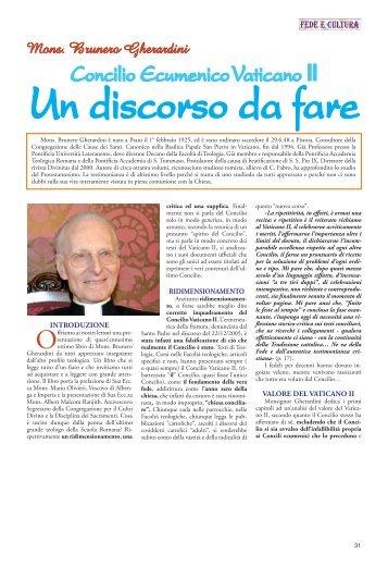 Concilio Ecumenico Vaticano II - Fede e Cultura