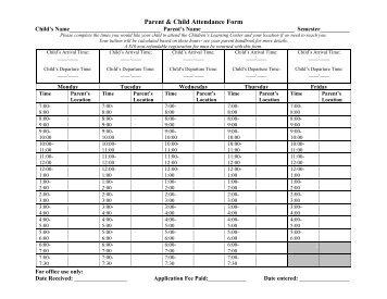 Parent & Child Attendance Form