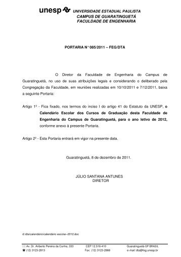 Calendário Escolar 2012 - Unesp