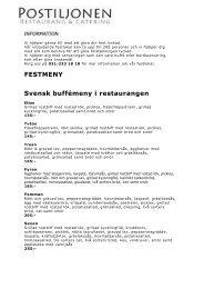 FESTMENY Svensk buffémeny i restaurangen - Kvartersmenyn.com