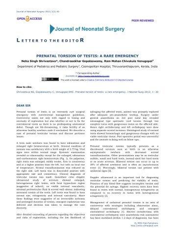 Prenatal torsion of testis: a rare emergency - Journal of Neonatal ...