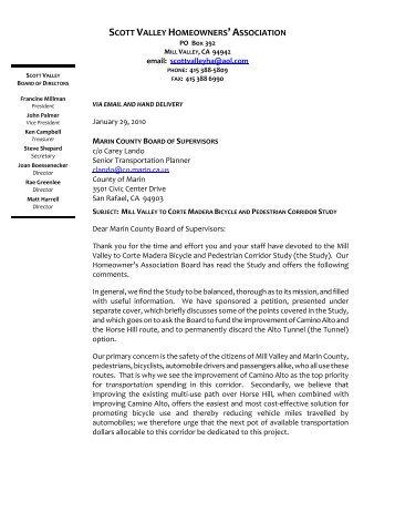 Scott Valley HOA Comment Letter, January 29 ... - Walk Bike Marin!