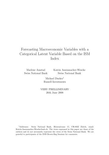 Forecasting Macroeconomic Variables with a Categorical Latent ...