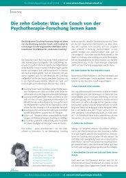 Was ein Coach von der Psychotherapie-Forschung lernen kann