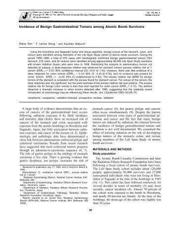 Incidence of benign gastrointestinal tumors in atomic bomb survivors.
