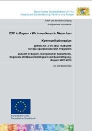 ESF-Kommunikationsplan - Europäischer Sozialfonds in Bayern