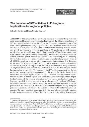 Locating ICT activities in the European regions. Implications for ...