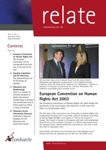 Relate November 2003 (pdf) - Citizens Information Board