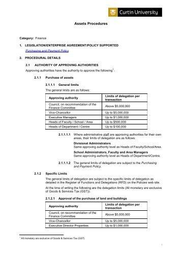 Assets Procedures - Curtin Policies and Procedures