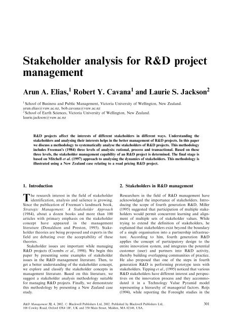 Stakeholder analysis for R&D project management - Temple Fox MIS