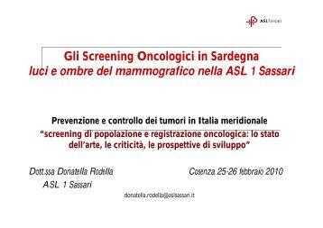 Gli Screening Oncologici in Sardegna luci e ombre del ...