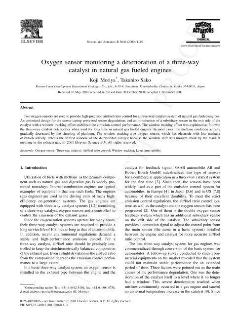 Oxygen sensor monitoring a deterioration of a three-way ... - UMEL