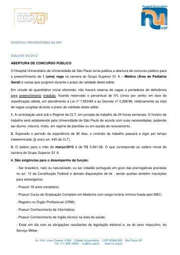 HOSPITAL UNIVERSITÁRIO DA USP Edital HU 34/2012 ...