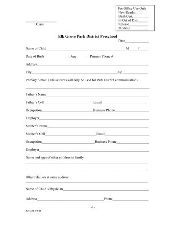 Preschool Registration Forms 2013-2014 - Elk Grove Park District
