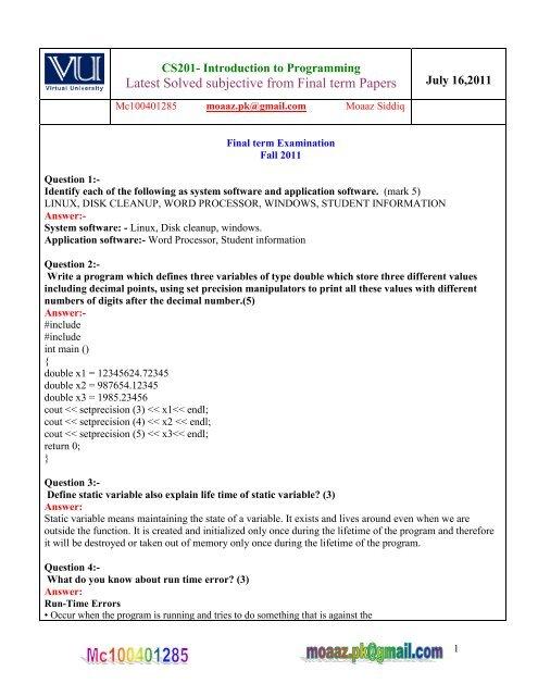 eng201 final term paper 2013