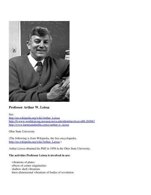 Professor Arthur W  Leissa - Shellbuckling com