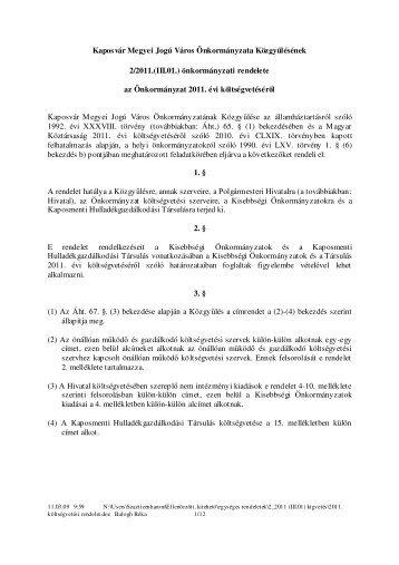 Kaposvár Megyei Jogú Város Önkormányzata Közgyűlésének 2/2011.