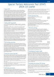 (STAT) 2013 Admissions Leaflet - Universities Admissions Centre