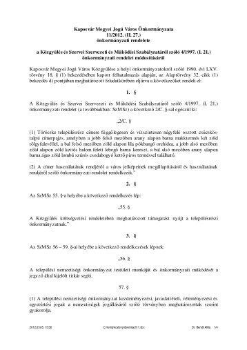 Kaposvár Megyei Jogú Város Önkormányzata 11/2012. (II. 27 ...