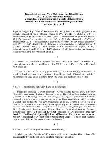 Kaposvár Megyei Jogú Város Önkormányzata Közgyűlésének 1/2012.