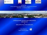 Zarządzanie rozwojem obszarów miejskich a Krajowa Polityka Miejska