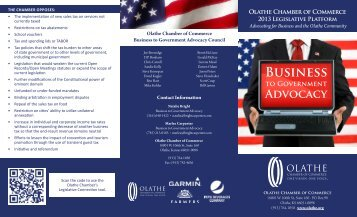 state legislative platforms - Olathe Chamber of Commerce